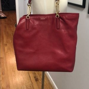 Red Coach Tote with Gold Hardware - Great Work Bag
